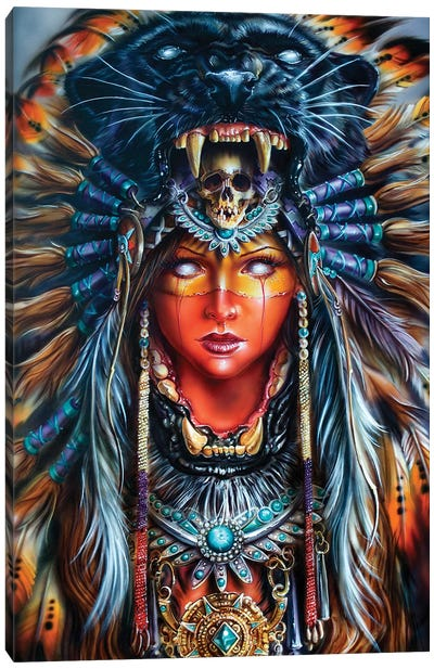 Aztek Huntress Canvas Art Print