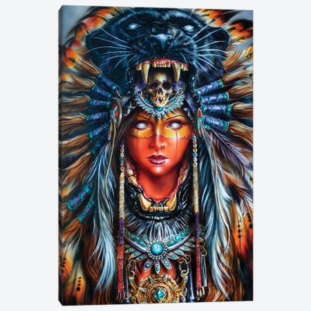 Aztek Huntress Canvas Print #DET3} by Derek Turcotte Canvas Wall Art