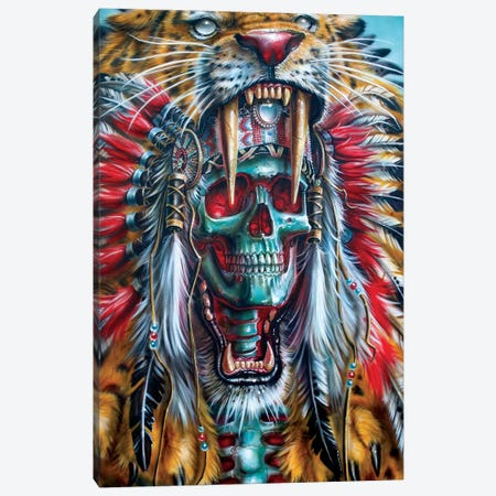 Sabertooth Warrior Canvas Print #DET43} by Derek Turcotte Art Print