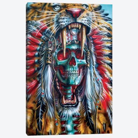 Sabertooth Warrior Canvas Print #DET43} by Derek Turcotte Art Print