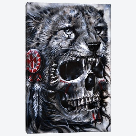 Skull Leopard Canvas Print #DET47} by Derek Turcotte Canvas Art