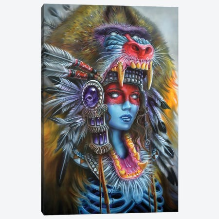 Babboon Huntress Canvas Print #DET4} by Derek Turcotte Canvas Print