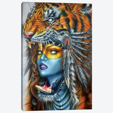 Tiger Huntress I Canvas Print #DET52} by Derek Turcotte Canvas Wall Art