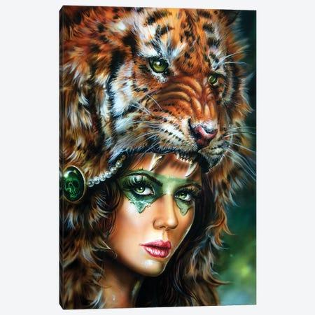 Tiger Huntress II Canvas Print #DET53} by Derek Turcotte Canvas Wall Art