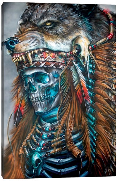 Wolf Spirit Hood Canvas Art Print