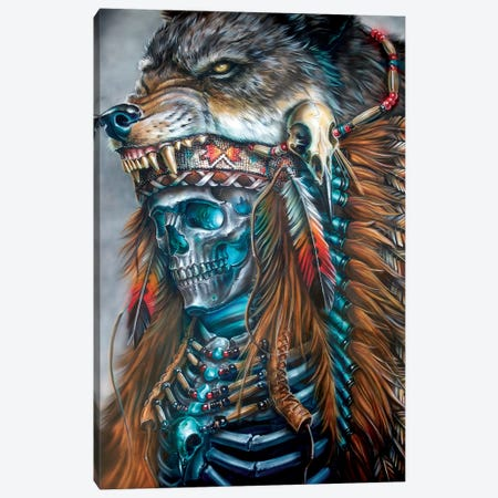 Wolf Spirit Hood Canvas Print #DET59} by Derek Turcotte Canvas Artwork