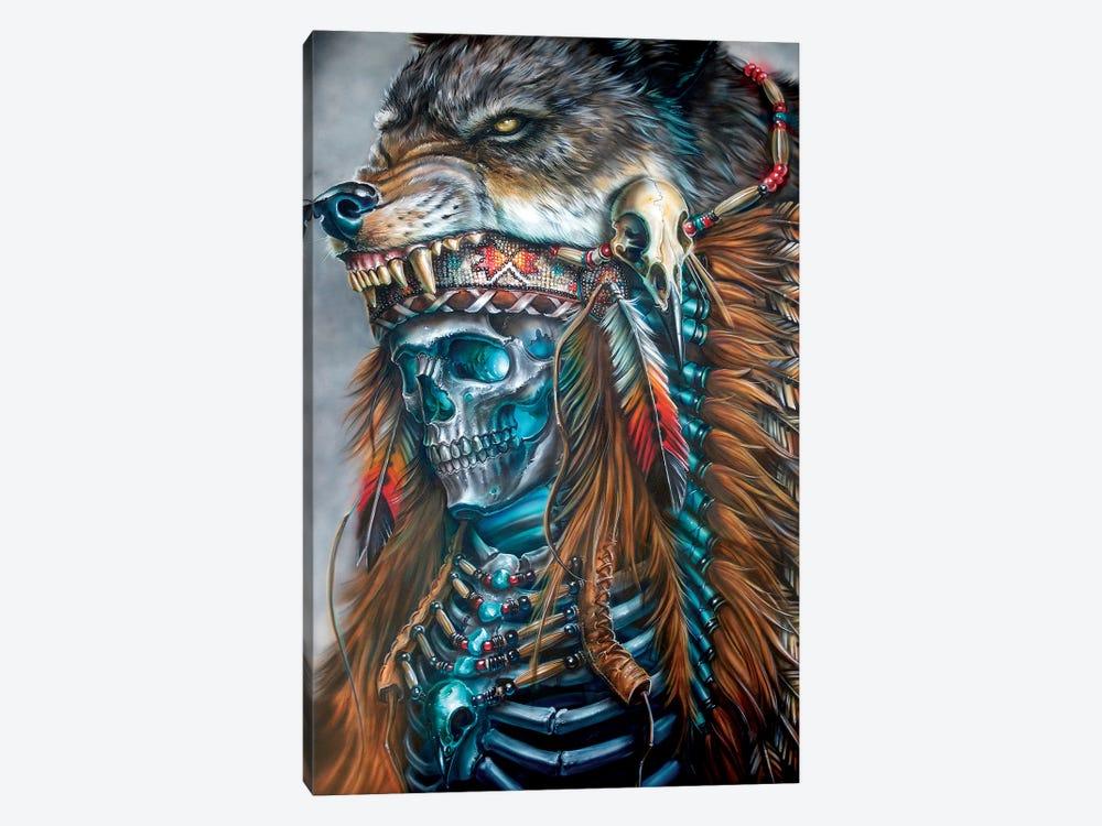 Wolf Spirit Hood by Derek Turcotte 1-piece Canvas Print