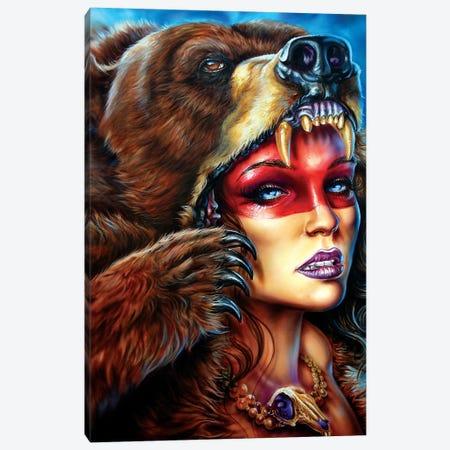 Bear Headress  Canvas Print #DET5} by Derek Turcotte Art Print