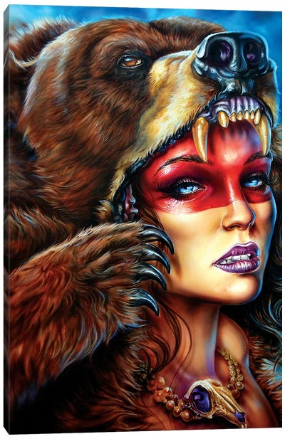 Bear Headress  Canvas Art Print