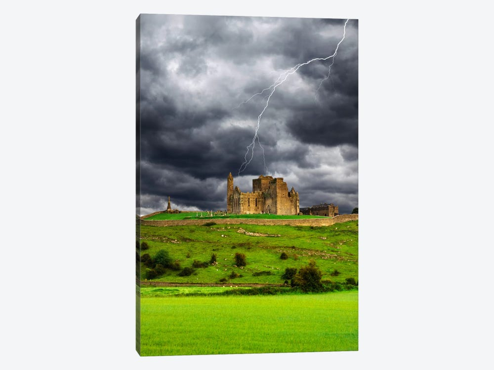 Lightning Bolt Over Rock Of Cashel, County Tipperary, Munster Province, Republic Of Ireland by Dennis Flaherty 1-piece Canvas Artwork