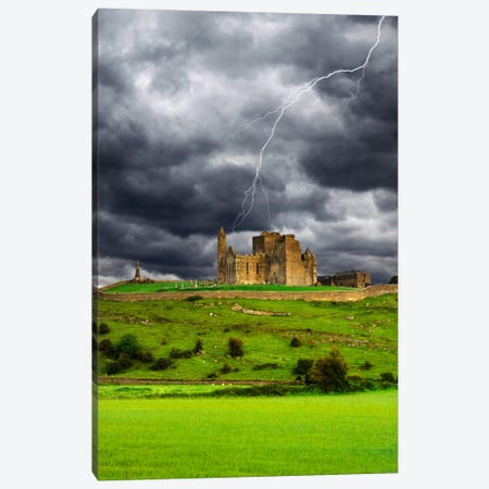 Lightning Bolt Over Rock Of Cashel, County Tipperary, Munster Province, Republic Of Ireland Canvas Print #DFL3} by Dennis Flaherty Canvas Art