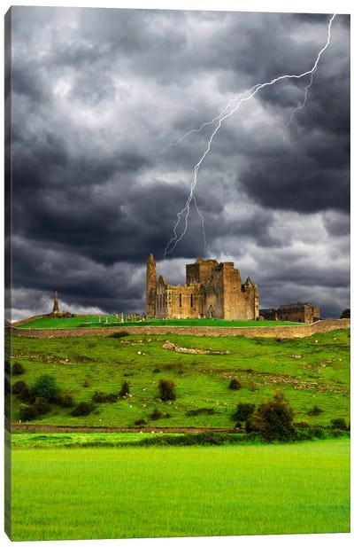 Lightning Bolt Over Rock Of Cashel, County Tipperary, Munster Province, Republic Of Ireland Canvas Art Print