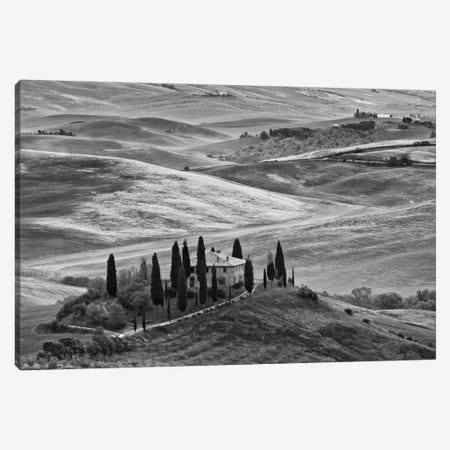 Countryside Landscape In B&W, San Quirico d'Orcia, Siena Province, Tuscany Region, Italy Canvas Print #DFL6} by Dennis Flaherty Canvas Art Print