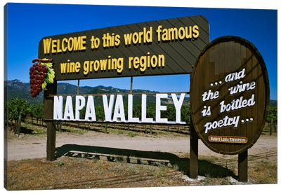 Welcome Sign, Napa Valley American Viticultural Area, Napa County, California, USA,  Canvas Art Print