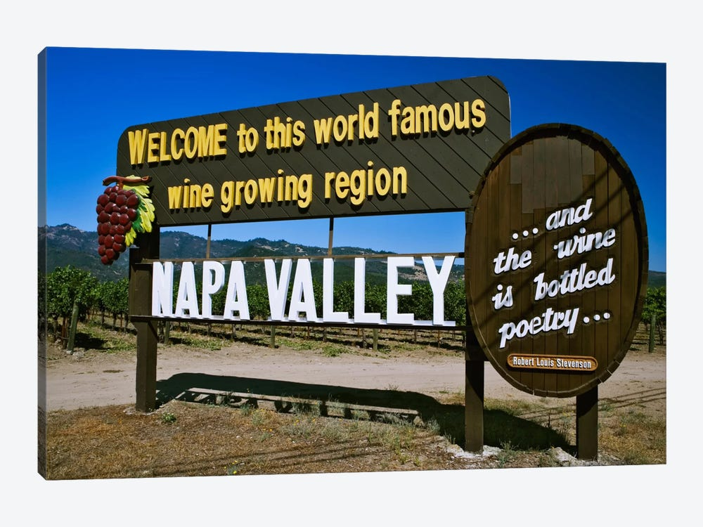 Welcome Sign, Napa Valley American Viticultural Area, Napa County, California, USA,  by Dennis Flaherty 1-piece Canvas Wall Art