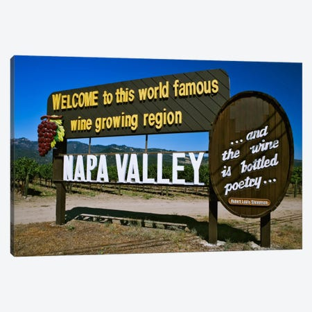 Welcome Sign, Napa Valley American Viticultural Area, Napa County, California, USA,  Canvas Print #DFL7} by Dennis Flaherty Art Print