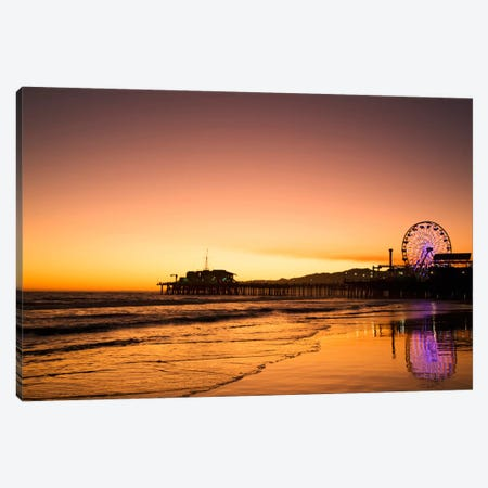 Santa Monica Pier At Sunrise, Santa Monica, California, USA Canvas Print #DFL8} by Dennis Flaherty Canvas Art