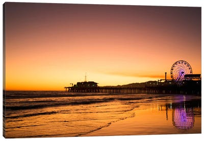 Santa Monica Pier At Sunrise, Santa Monica, California, USA Canvas Art Print
