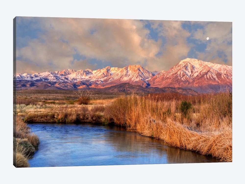 Distant Moon Over A Mountain Landscape, Sierra Nevada, California, USA by Dennis Flaherty 1-piece Canvas Art