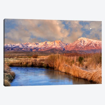 Distant Moon Over A Mountain Landscape, Sierra Nevada, California, USA Canvas Print #DFL9} by Dennis Flaherty Canvas Artwork