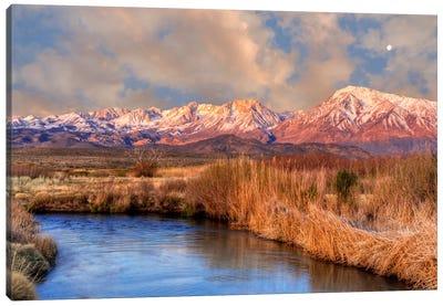 Distant Moon Over A Mountain Landscape, Sierra Nevada, California, USA Canvas Art Print