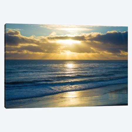 Beach Sunset Surfers Canvas Print #DFO2} by Doug Foulke Canvas Art Print