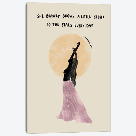 She Bravely Grows Canvas Print #DGM31} by Danica Gim Canvas Wall Art