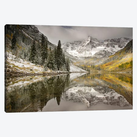 Snow Covered Maroon Bells And Their Reflection In Maroon Lake, White River National Forest, Colorado, USA Canvas Print #DGR2} by Don Grall Canvas Wall Art