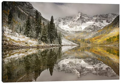 Snow Covered Maroon Bells And Their Reflection In Maroon Lake, White River National Forest, Colorado, USA Canvas Art Print