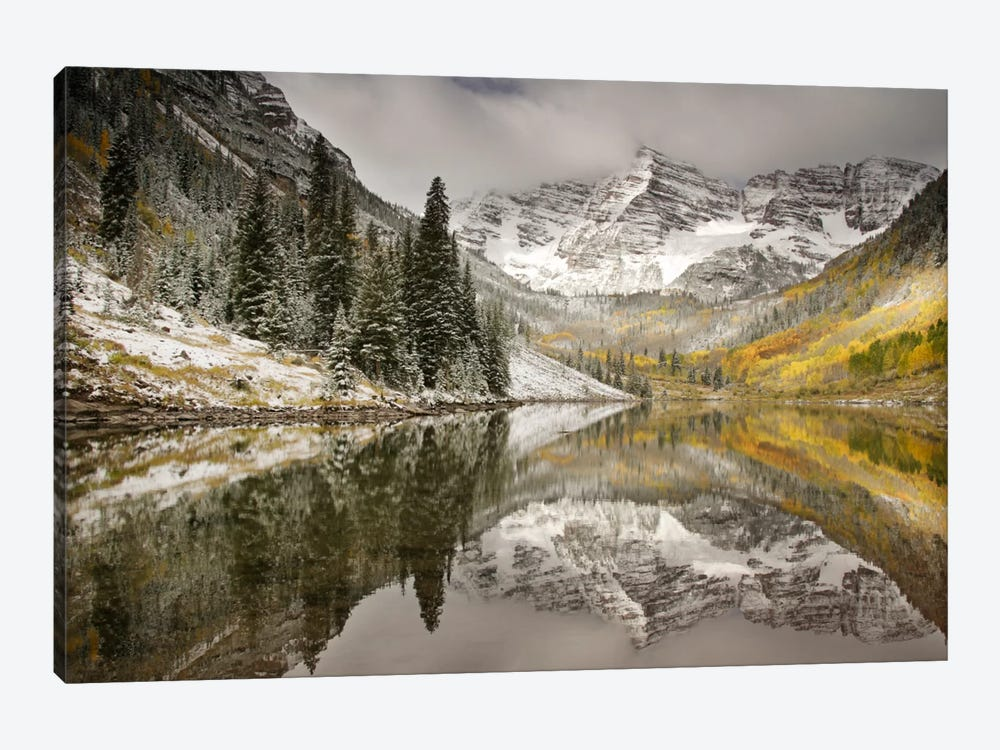 Snow Covered Maroon Bells And Their Reflection In Maroon Lake, White River National Forest, Colorado, USA by Don Grall 1-piece Canvas Artwork