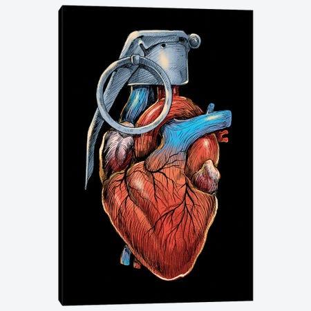 Heart Grenade Canvas Print #DGT21} by Digital Carbine Canvas Artwork