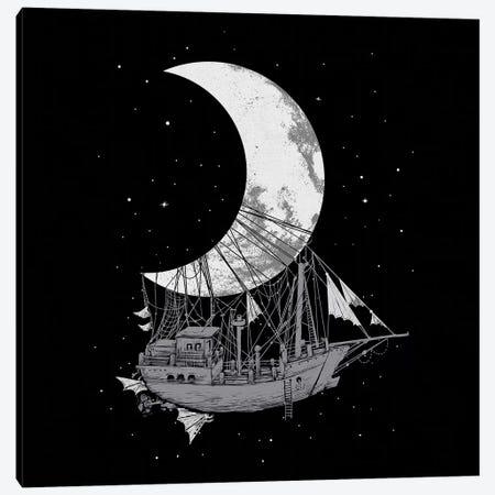 Moon Ship Canvas Print #DGT34} by Digital Carbine Canvas Wall Art
