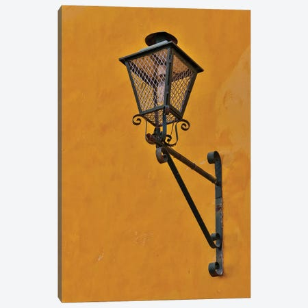 San Miguel De Allende, Mexico. Lantern and shadow on colorful buildings Canvas Print #DGU100} by Darrell Gulin Art Print