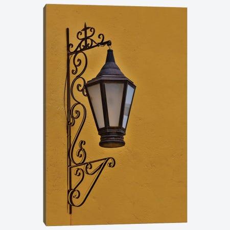 San Miguel De Allende, Mexico. Lantern and shadow on colorful buildings Canvas Print #DGU102} by Darrell Gulin Art Print