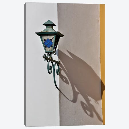 San Miguel De Allende, Mexico. Lantern and shadow on colorful buildings Canvas Print #DGU103} by Darrell Gulin Canvas Art Print