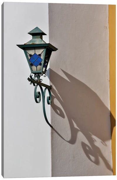 San Miguel De Allende, Mexico. Lantern and shadow on colorful buildings Canvas Art Print
