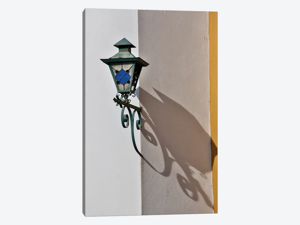 San Miguel De Allende, Mexico. Lantern and shadow on colorful buildings by Darrell Gulin 1-piece Canvas Art