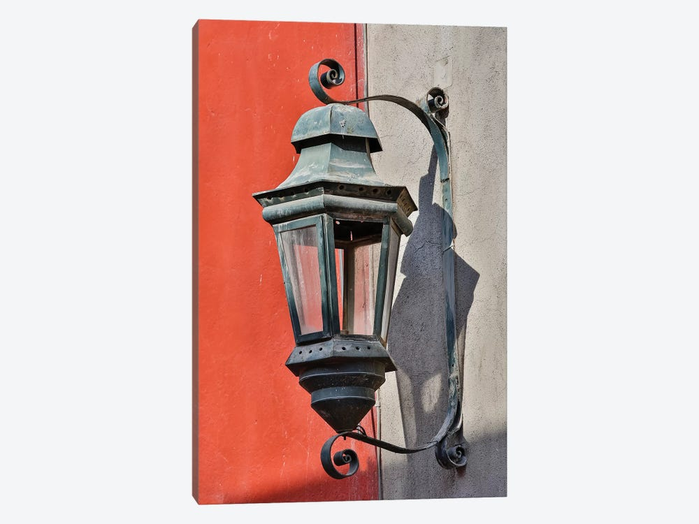 San Miguel De Allende, Mexico. Lantern and shadow on colorful buildings 1-piece Canvas Art Print