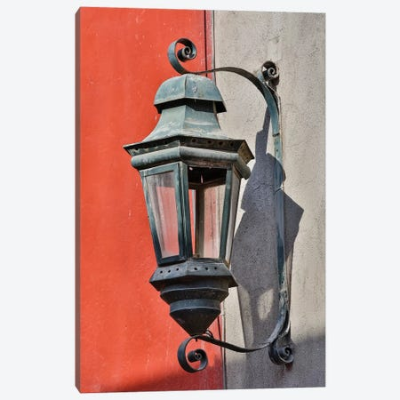 San Miguel De Allende, Mexico. Lantern and shadow on colorful buildings Canvas Print #DGU104} by Darrell Gulin Canvas Art
