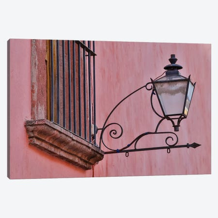 San Miguel De Allende, Mexico. Lantern and shadow on colorful buildings Canvas Print #DGU105} by Darrell Gulin Canvas Wall Art