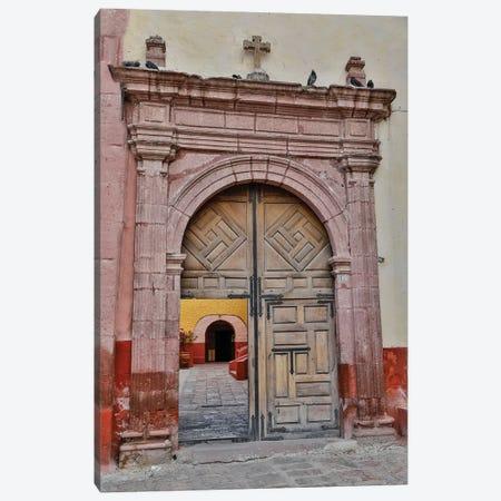 San Miguel De Allende, Mexico. Open doorway into plaza of church Canvas Print #DGU107} by Darrell Gulin Canvas Art