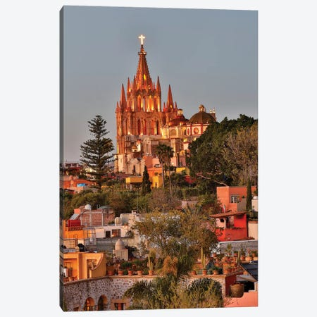 San Miguel De Allende, Mexico. Ornate Parroquia de San Miguel Archangel with city overview Canvas Print #DGU110} by Darrell Gulin Canvas Wall Art