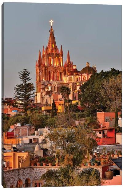 San Miguel De Allende, Mexico. Ornate Parroquia de San Miguel Archangel with city overview Canvas Art Print