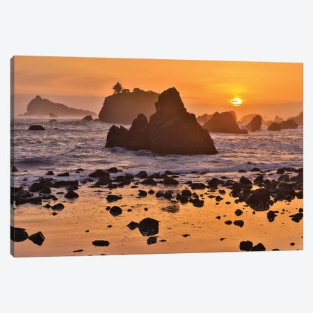 Sunset And Sea Stacks Along The Northern California Coastline, Crescent City Canvas Print #DGU169} by Darrell Gulin Canvas Print
