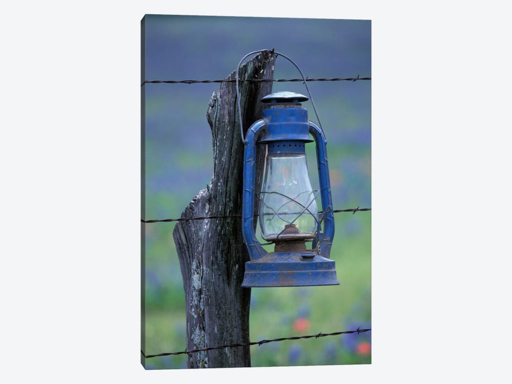 Blue Lantern Hanging On A Barbed Wire Fence Post, Lytle, Texas, USA by Darrell Gulin 1-piece Canvas Wall Art