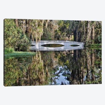 Bridge crossing pond Springtime azalea blooming, Charleston, South Carolina. Canvas Print #DGU60} by Darrell Gulin Art Print