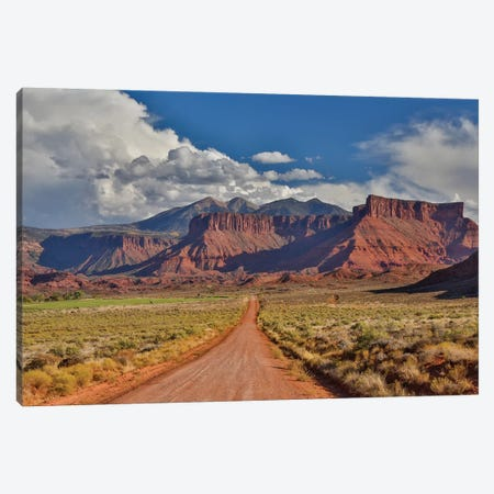 Straight dirt road leading into Professor Valley, Utah Canvas Print #DGU67} by Darrell Gulin Canvas Wall Art