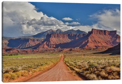 Straight dirt road leading into Professor Valley, Utah Canvas Art Print
