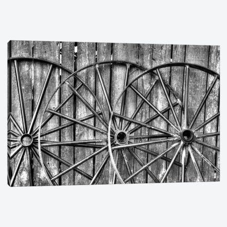 Wooden fence and old wagon wheels, Charleston, South Carolina 3-Piece Canvas #DGU69} by Darrell Gulin Canvas Art Print