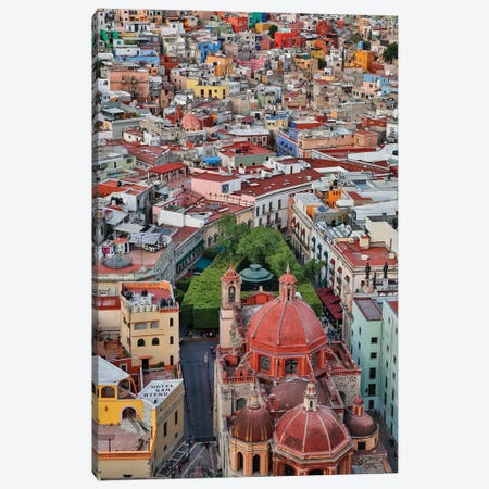Guanajuato in Central Mexico. City overview in evening light with colorful buildings Canvas Print #DGU74} by Darrell Gulin Art Print